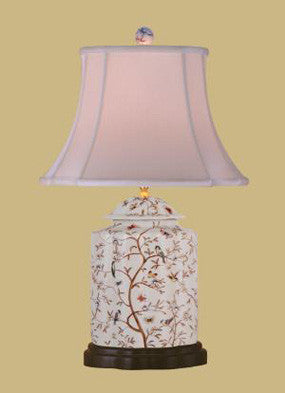 Porcelain Floral and Birds Jar Lamp