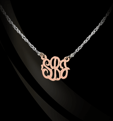 Gold Script Monogram on Sterling Silver Necklace