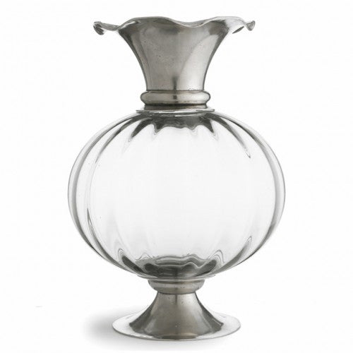 Giovanna Pewter & Crystal Vase By Arte Italica