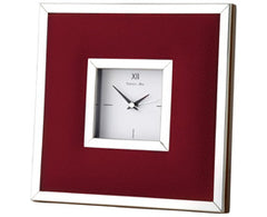 Leather & Sterling Silver Clock