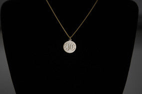 "Small Solid Gold Disc with 16"" chain"