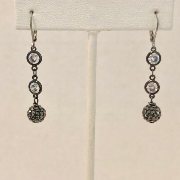 Earrings with 2 Round CZ's & Micro Pave Black Crystal Round Beads
