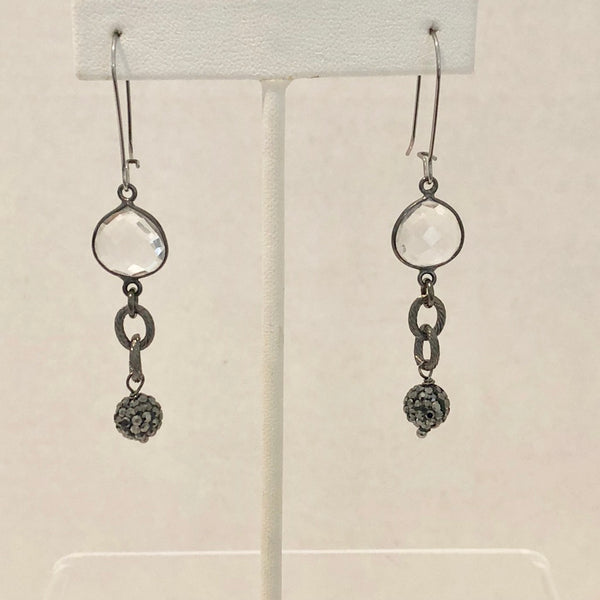 Earrings with Crystal Quartz and Black Micro Pave Bead