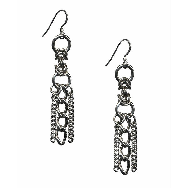Glam Box Chain Earrings by Rapt in Maille