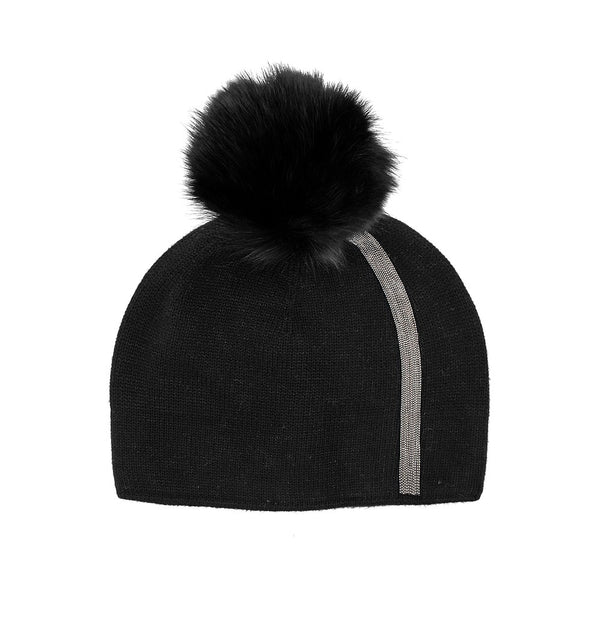 Black Knitted Hat with Metallic Stirpe and Real Fox Pom