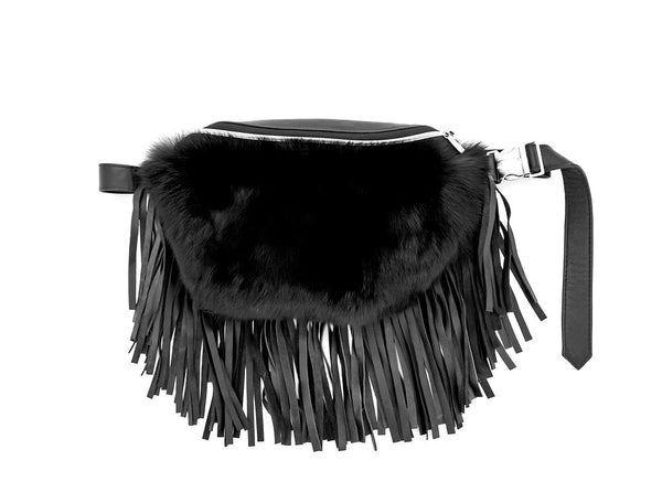 Fur And Leather Fringe Fanny/Crossbody Bag