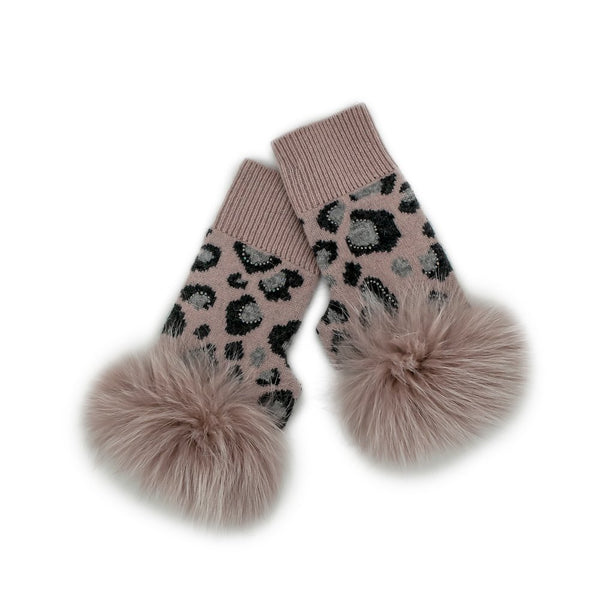 Animal Print Fingerless Gloves with Crystal and Fox Trim