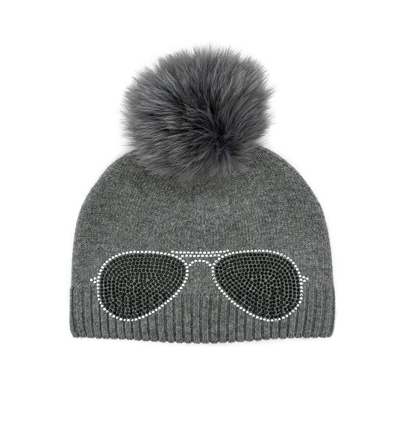 Crystal Aviator Knit Hat With Real Fox POM