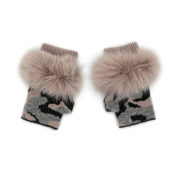 Camouflage  Print Fingerless Gloves with  Fox trim