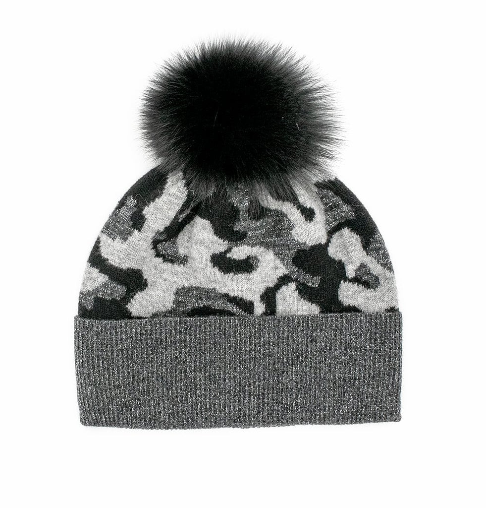Knitted Camo Lurex Hat With Fox Pom