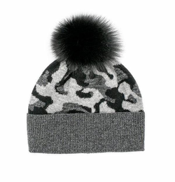 KNITTED CAMOUFLAGE HAT WITH LUREX WITH FOX POM POM