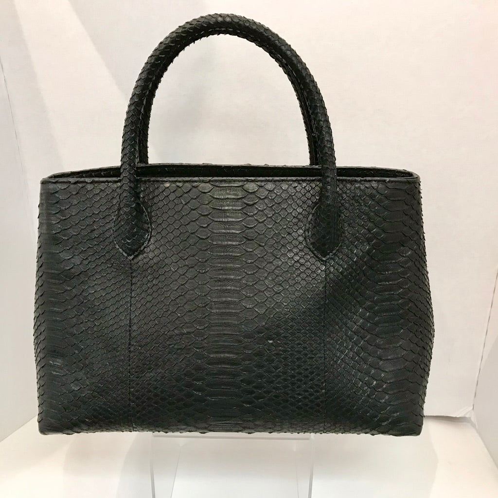 Leather Snakeskin Structured Satchel