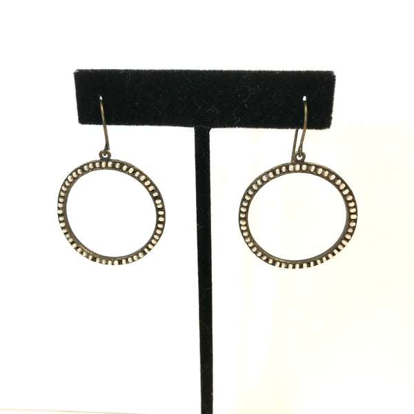 Antique Brass Pearl Circle Earrings
