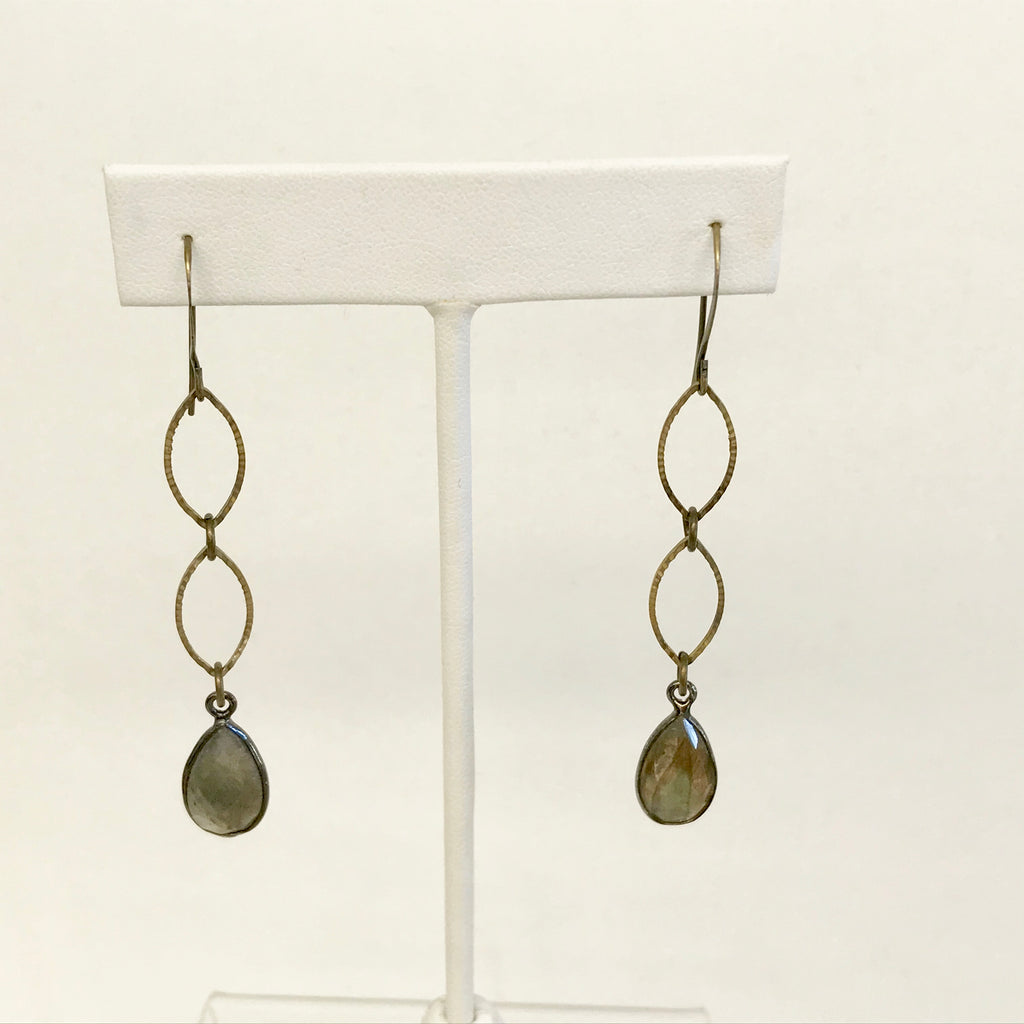 Brass Double Marquis Earring With Labradorite Pear Stone