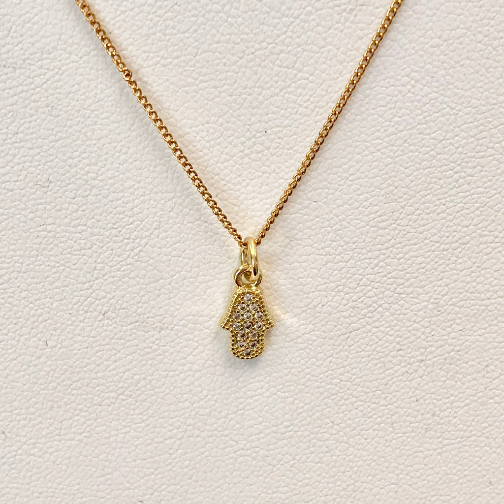 Gold Small CZ Hamsa Necklace