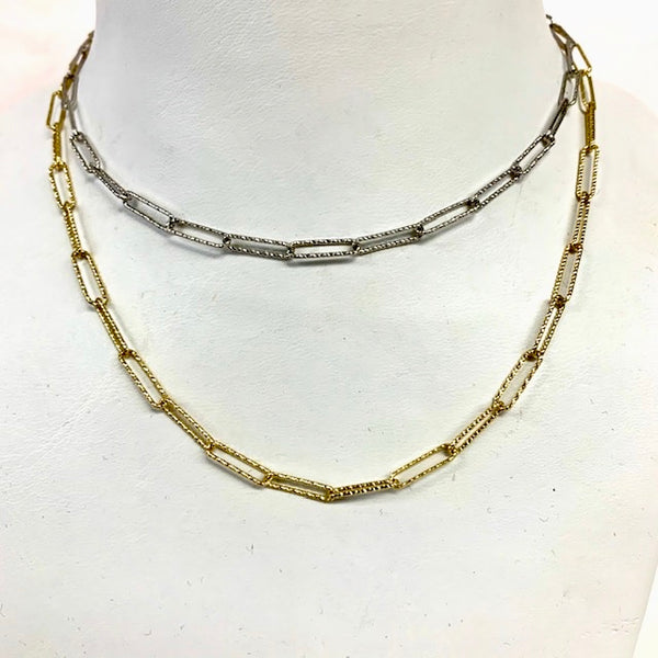 Sterling Silver Diamond Cut Rectangle Link Chain