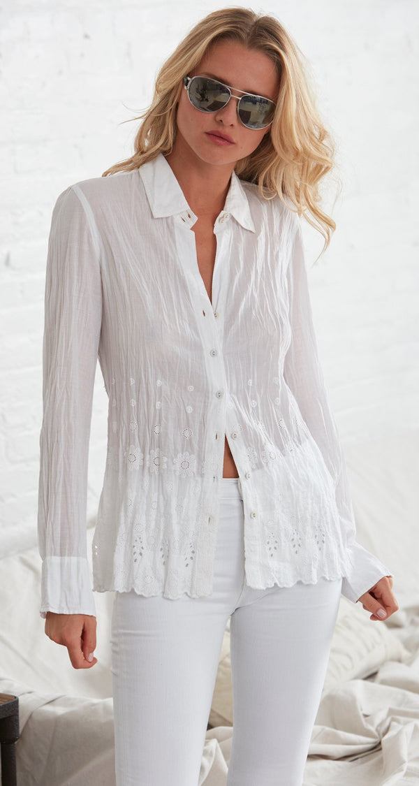 White Embroidered Flower Shirt