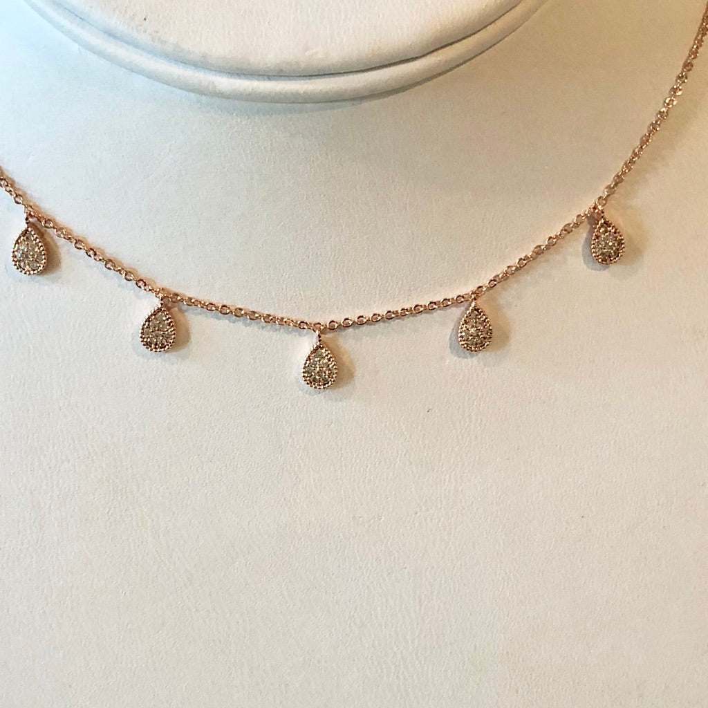 Dainty CZ Teardrops Rosegold Necklace