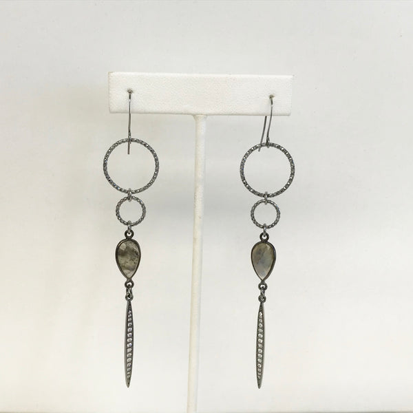 Double Circle Pear Crystal and CZ Dagger Earrings