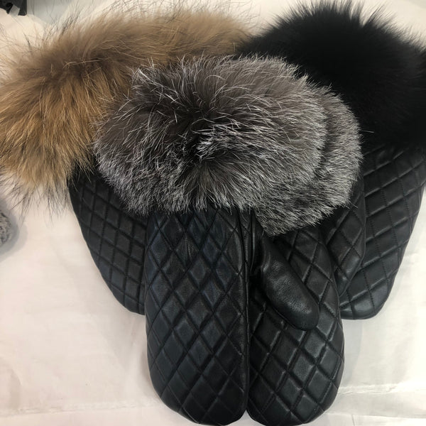 Black Leather Quilted Mittens with Fur Trim