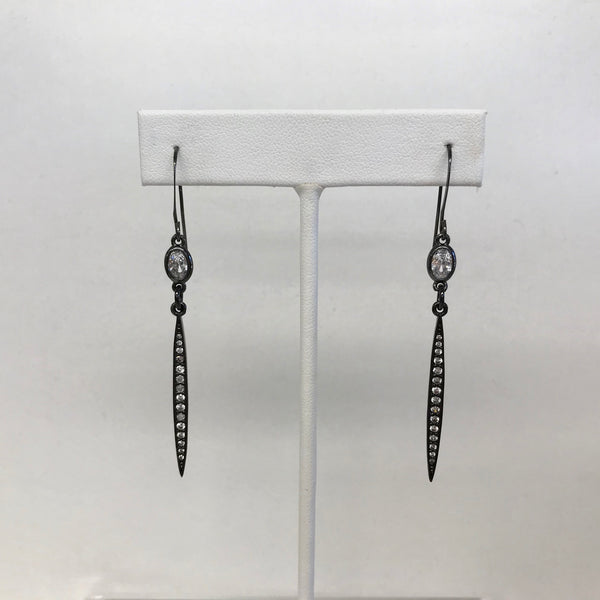 Earrings with Pave CZ spikes and a Crystal