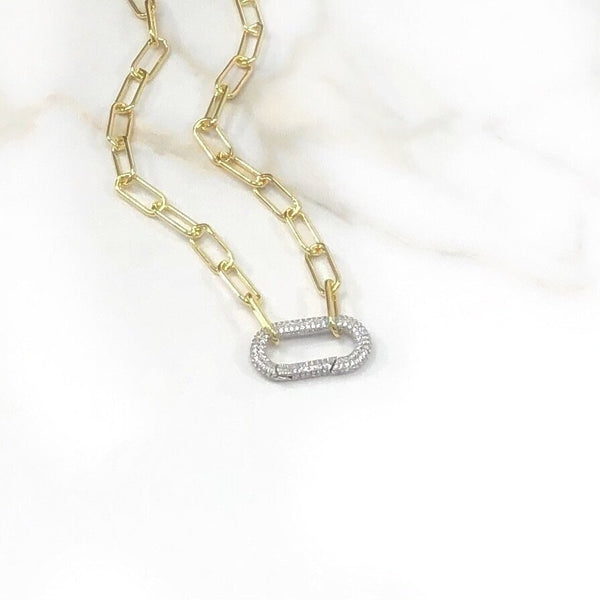 Gold Paper Clip CZ  Carabiner Necklace