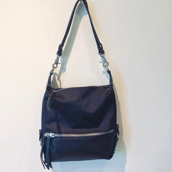 Mini Hobo 1/2 Napa Leather 1/2 Nylon with Silver Hardware