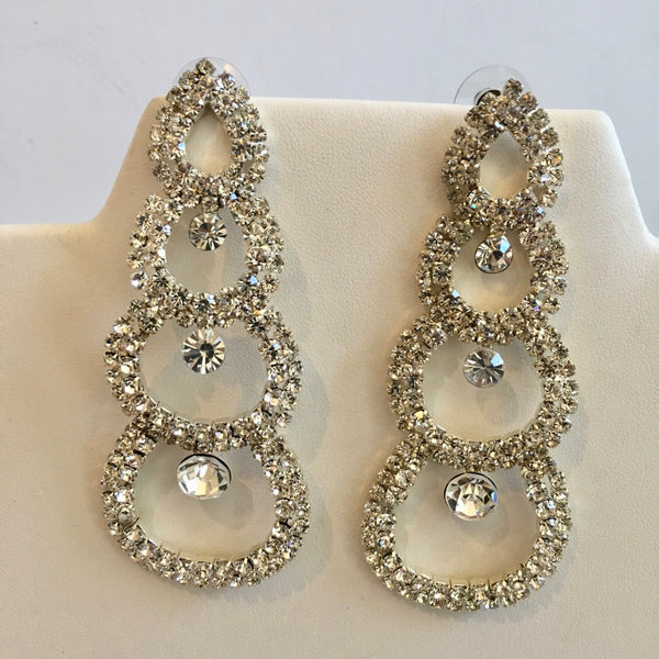 Crystal Earrings 3/4 Circles with Solitaires