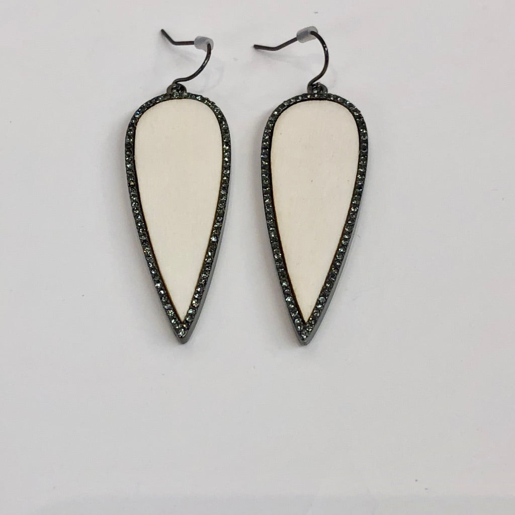 CZ & Wood Teardrop Earring