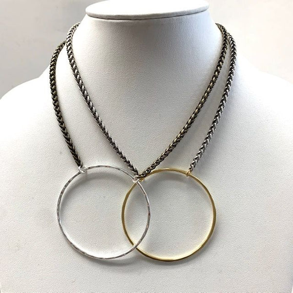 Veronica Two-Tone Hammered Circle Necklace