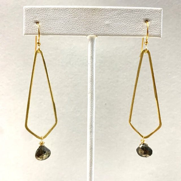 Pyrite And Brass Diamond Shape Earrings