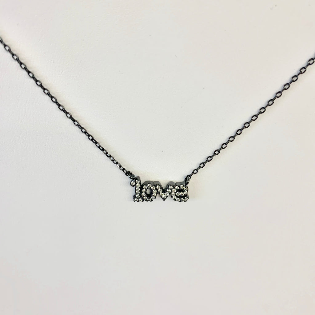 "CZ ""love"" Necklace Black Delicate Chain"