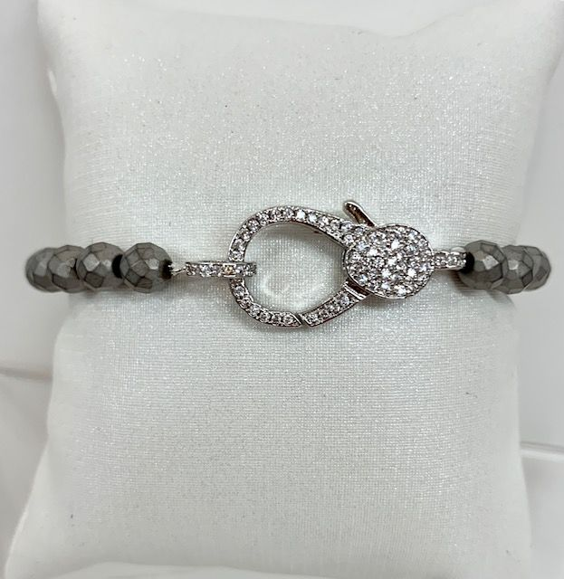 Grey Matte Faceted Beaded Bracelet with CZ Lobster Claw Clasp