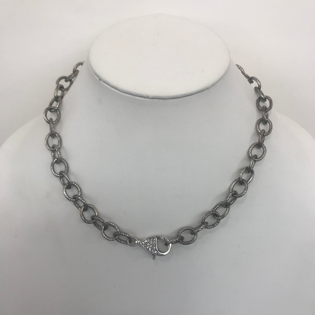 Thick Silver Chain with CZ Lobster Claw