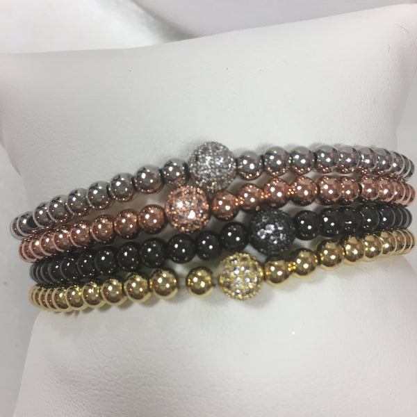 Beaded Stretch Bracelets with CZ Ball