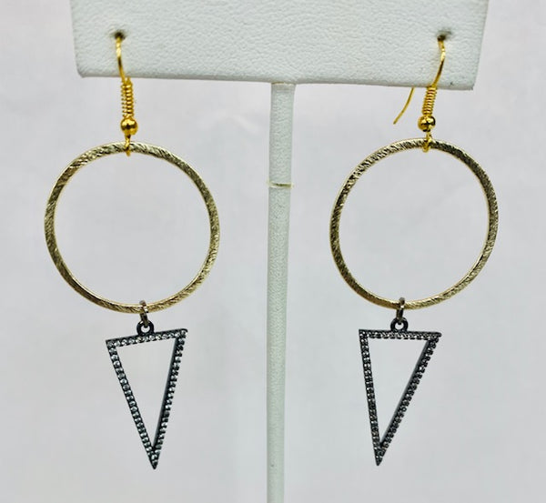 Metal Circle with Hematite and CZ Triangle Earrings