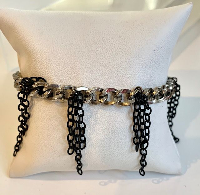 Silver Chain Bracelet with Dangling Black Chain