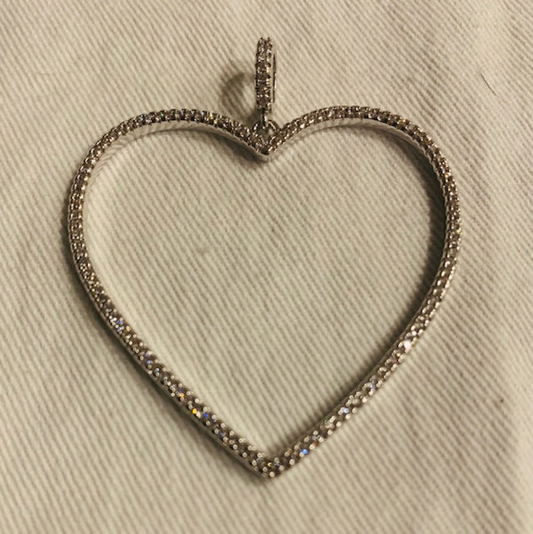 Large Cut Out CZ Heart Charm