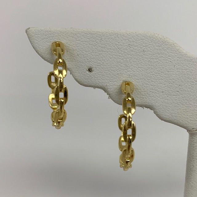 Small And Medium Link Chain Hoop Earrings