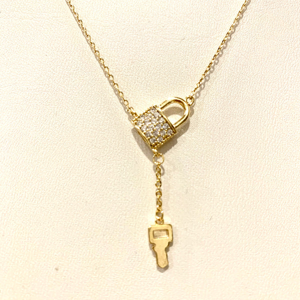 CZ Lock with Key Drop Necklace
