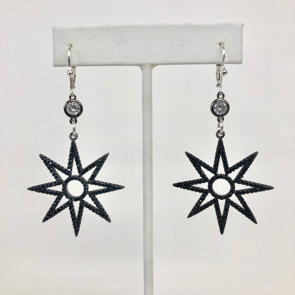 Earrings Compass With Black Crystals