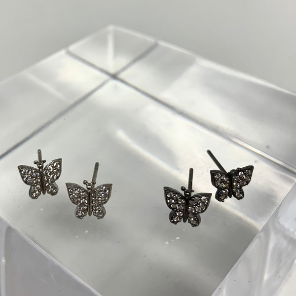 Detailed Pave Butterfly Post Earrings