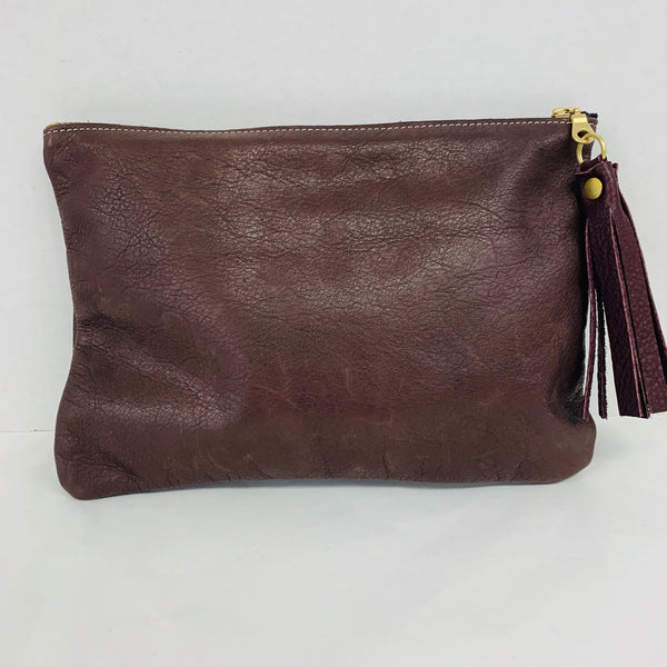Zina Koa Leather Large Pouch