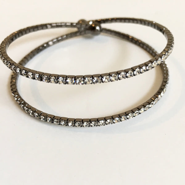 Double Row Rhinestone Memory Wire Cuff