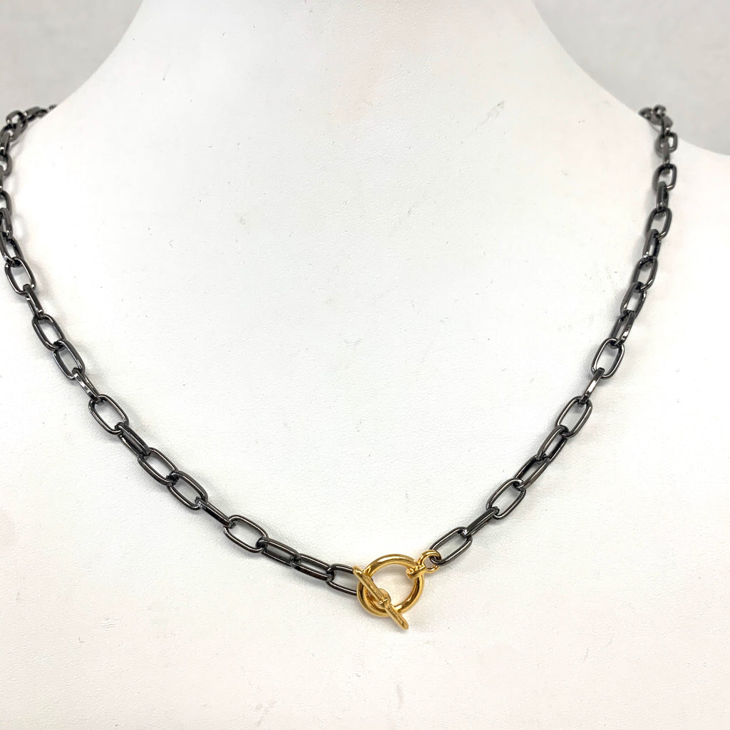 Gunmetal Link Necklace with Gold Toggle Closer