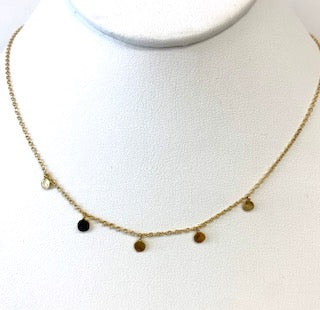 Dainty Disc Necklace with 5 Stations One Disc With Black Pave CZ's