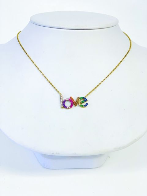 Crystal Rainbow LOVE Necklace
