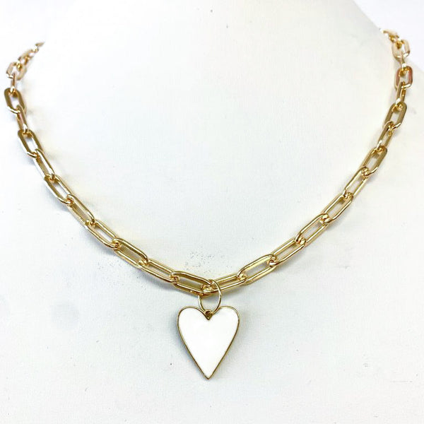 Enamel Heart On Gold Paperclip Chain