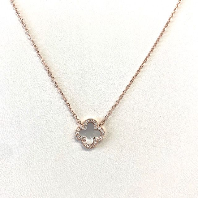 Sterling, CZ & Mother of Pearl Mini Clover Necklace