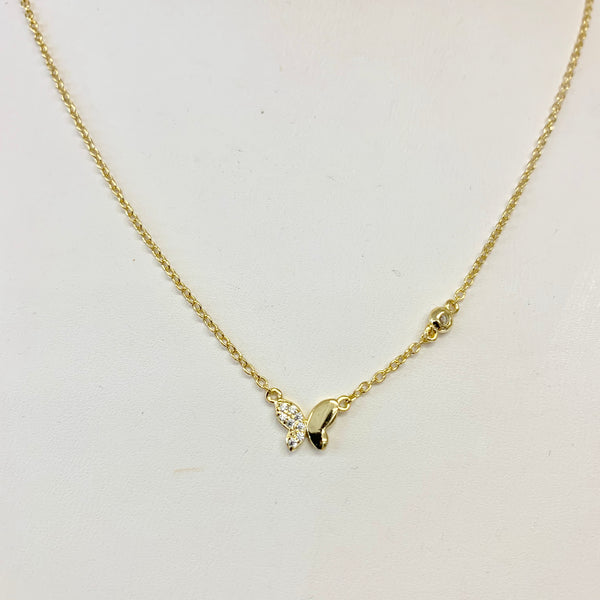 Gold Necklace with Mini Half Pave Butterfly Necklace